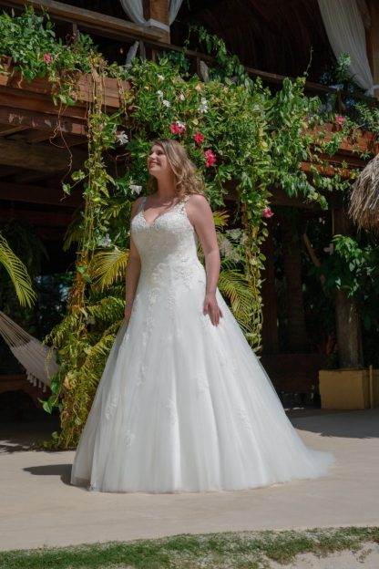 30008W-D7 Satin+Tulle+Lace