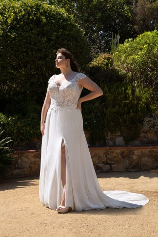 30066W-D11-BE Chiffon+Tulle
